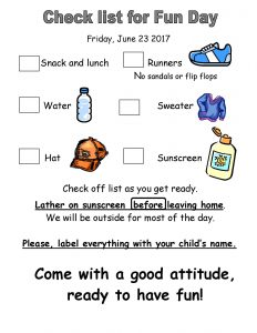 Check list for Fun Day